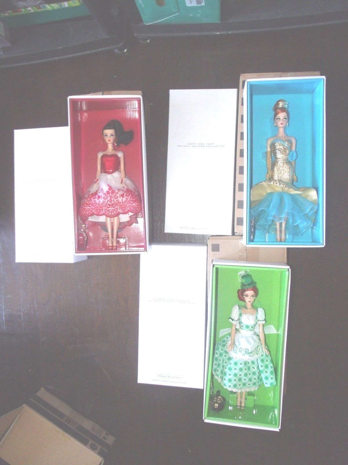Lote de 3 vacaciones anfitriona Silkstone Barbie Feliz Año Nuevo-Cupido-Shamrock