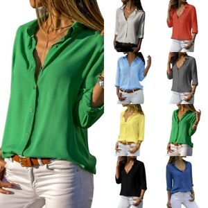 Women-039-s-Casual-Chiffon-V-Neck-Button-Up-Long-Sleeve-Solid-Blouse-Shirt-Tops