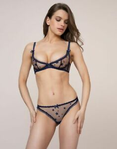 Agent-Provocateur-Luxx-Blue-Star-Demi-Cup-Bra-32D-amp-Thong-Sz-AP-2-UK-8-Set