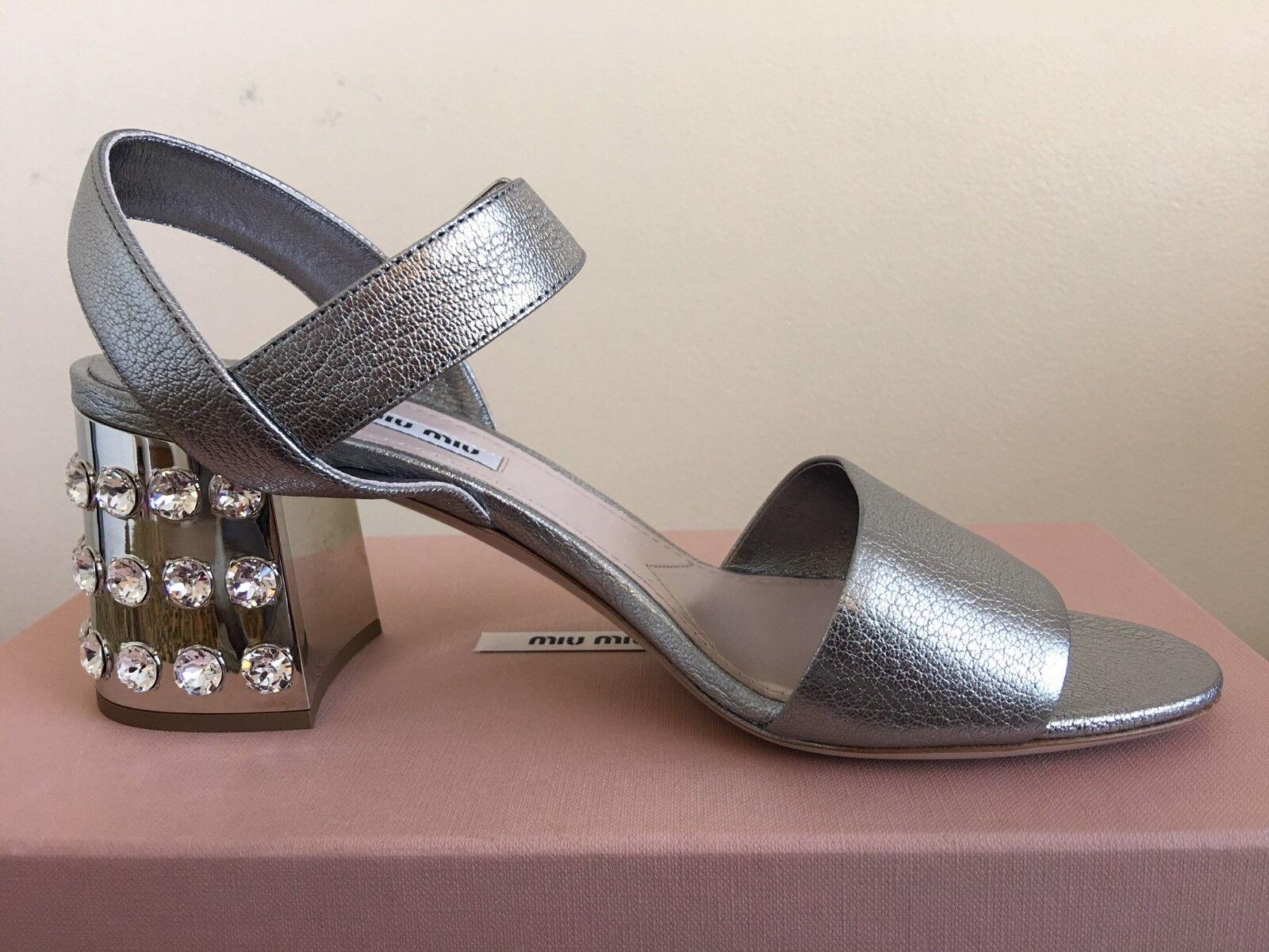 MIU MIU Embellished Heel Metallic leather ankle-strap sandals NIB 950  950 NIB 78b9c5