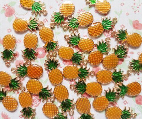 3pcs x Cute Pineapple Enamel Gold Alloy CHARM Pendants DIY Jewellery