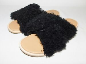 f83326011a6 NEW NWOB WOMENS SIZE 7 BLACK UGG JONI SLIDE CURLY SHEEPSKIN SLIPPERS ...