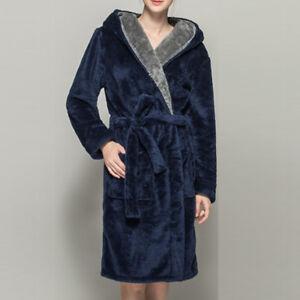 edbda54cf4 Details about Women Men Long Sleepwear Robes Shawl Collar Soft Fleece  Bathrobe Spa Pajamas New
