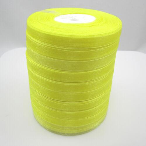 """100 Yards 3//8/"""" Sizes Satin Edge Sheer Organza Ribbon Bow Craft yellow Colors"""