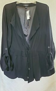 Torrid 3 Black jacket 22W 24W Lined Tie front pockets Classy 3/4 sleeve NEW