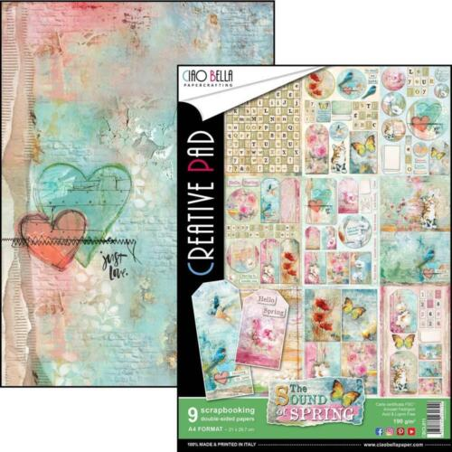 Flowers Birds Spring A4 Paper Pack 9 Double-Sided Sheets CIAO BELLA CBCL011 New