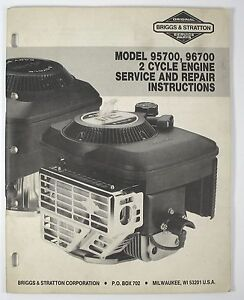 briggs stratton 2 cycle engine repair manual model 95700 96700 ebay rh ebay com 2 stroke engine repair manual Tecumseh 2-Cycle Engines