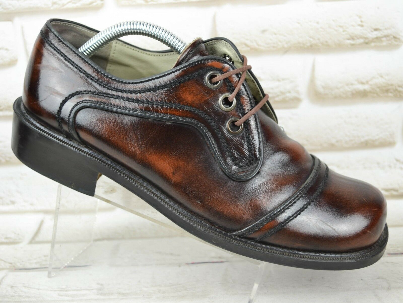 SANDERS Mens Brown Leather Formal shoes Low Boots Made PORTUGAL Size 8 EU