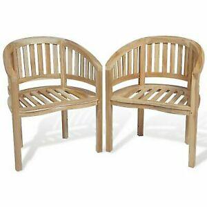 Fantastic Vidaxl 2 Teak Banana Halfmoon Chairs Seat Wooden Garden Furniture Outdoor Indoor Cjindustries Chair Design For Home Cjindustriesco