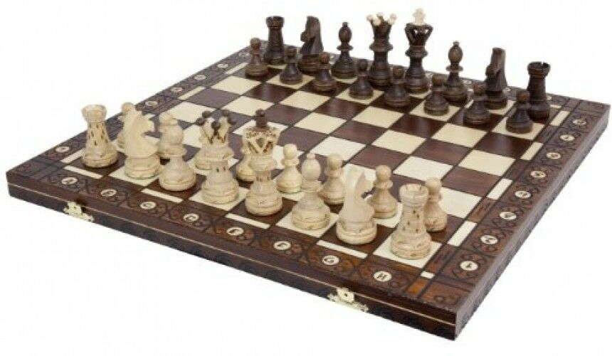 Chess Game Set Large 21 Inch Vintage Wooden Hand Carved Board And Pieces