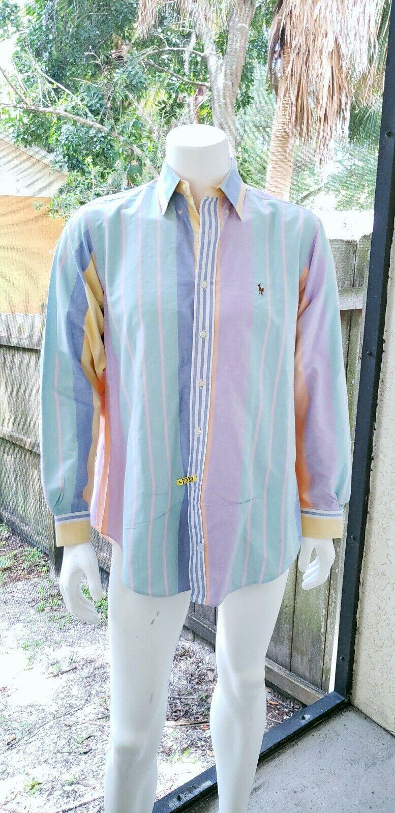 Vintage 90s Polo Ralph Lauren Grünical Pastel Stripe Button hemd herren 16 1 2-35