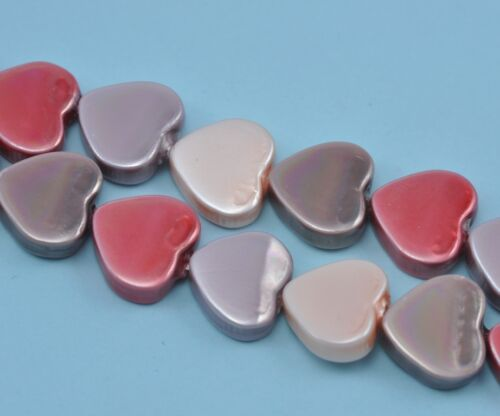 1 String 11mm Heart Sea Shell Faux Pearl Beads for Jewellery Making