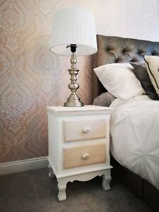 Image Is Loading Louis White Painted 2 Drawer Bedside Cabinet Retro