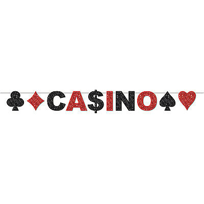 3.1m Glittered Casino Jointed Banner - 3.1m x 22cm - Casino Party Decoration