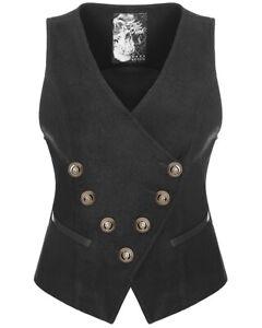Punk-Rave-Womens-Steampunk-Waistcoat-Vest-Top-Black-Copper-Gothic-VTG-Military