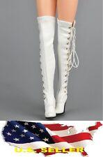 ZY 1/6 female white fashion Knee-High Boot black widow kumik hot toys USA