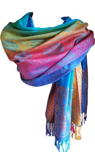 Rainbow Multi-Couleur Pashmina Coloré Femme Écharpe Paisley Imprimé Floral Choix