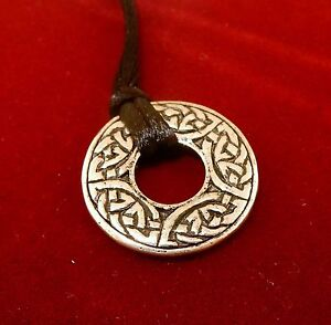 Antiqued-Silver-Plated-Celtic-Knot-Donut-Pendant-on-black-cord-by-Black-Dragon