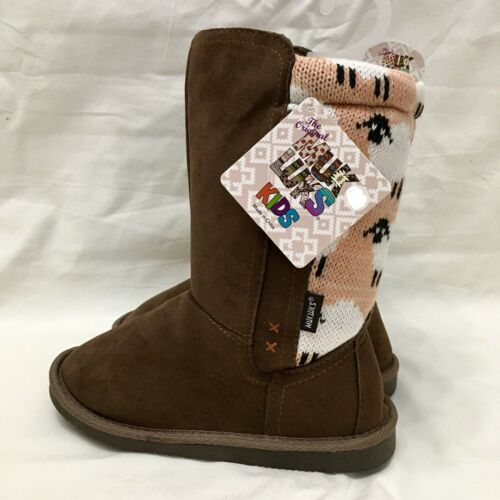 Muk Luks Stacy Faux Fur Lined Boots Girls Size 2 Pink Brown Sheep Faux