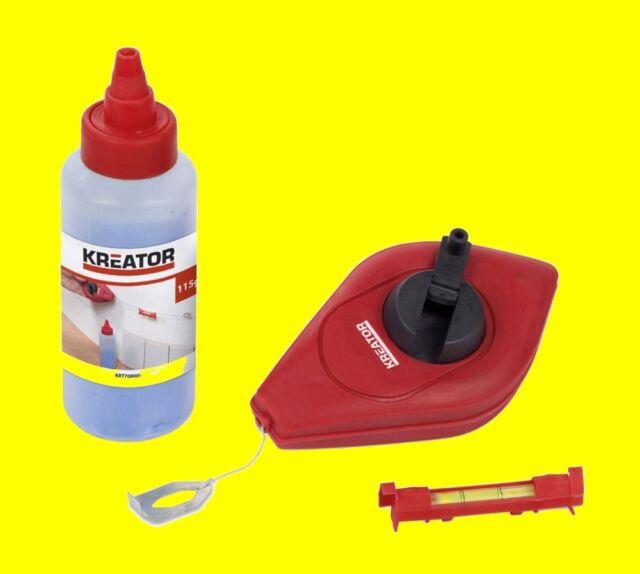 KRT708001 Set 30 Meter Schlagschnur Markierungsschnur mit Kreide und Wasserwaage