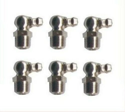 6 Pieces Metric Grease Fitting M12 M12X1 M12X1.0 Zerk Nipple 90 Degree Deg L-CH