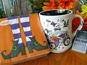 New-XL-Halloween-034-Skeletons-Midnight-Ride-034-Ceramic-Mug-amp-FREE-Witchy-Napkins