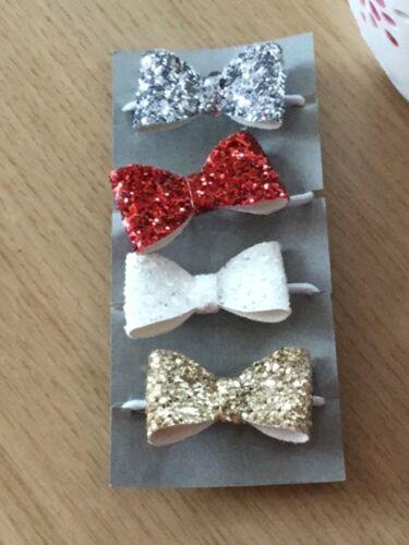 Girls Handmade 4 baby//toddler small Winter mix  Glitter Hair Bow bobbles