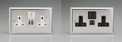 Varilight 2 Gang 13 Amp Switched Socket with 2 USB Charging Port Polished Chrome