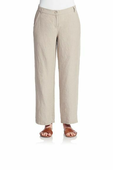 NWT Eileen Fisher Straight Leg Pants Organic Linen Natural Beige  178 – M, L
