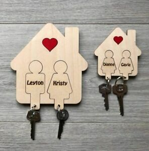 Details About Wooden Key Ring Holder House Key Gift Man Woman Key Hanger Weddingbirthday