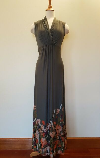 LAURA ASHLEY Maxi Dress Floral Grey Size 6 GUC