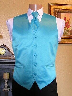 Vest Turquoise Full Back Neck Tie Cardi Tuxedo Steampunk Wedding Prom Groom