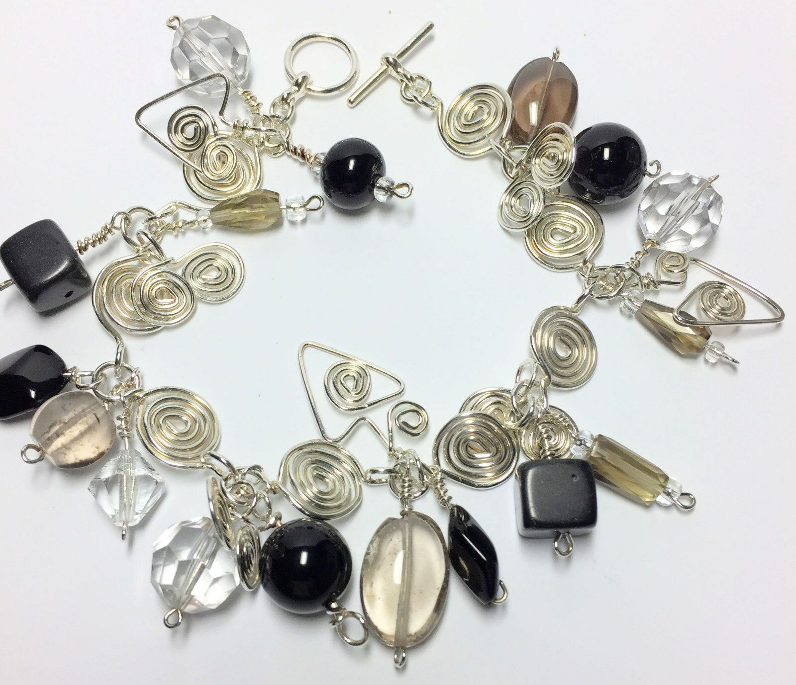Sterling 8 Inch Charm Bracelet W Gemstone Beads Handmade