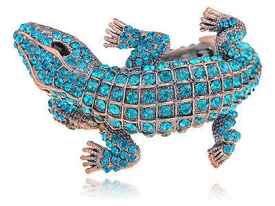 Copper Blue Zircon Crystal Rhinestone Crocodile Alligator Bangle Bracelet S0098