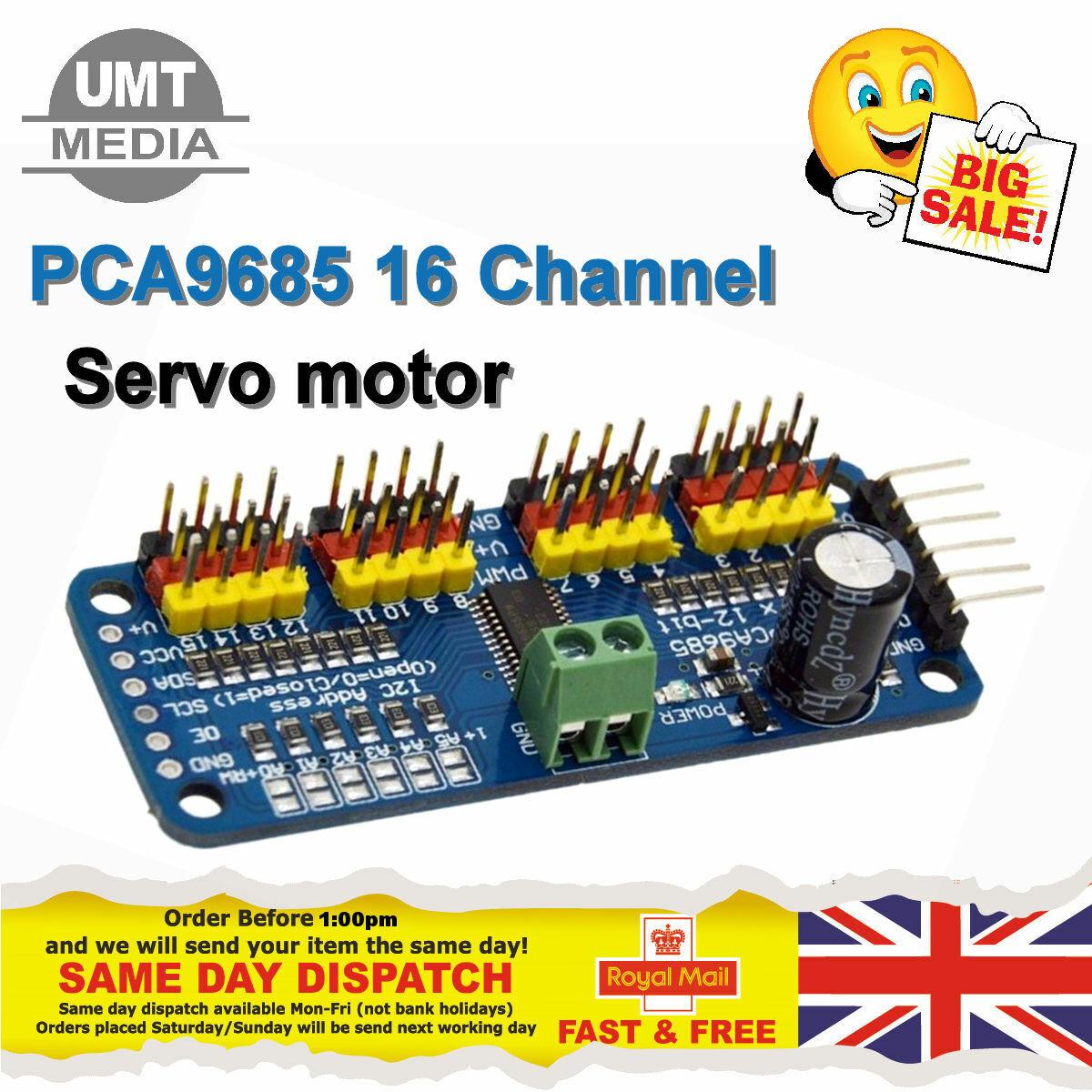 Dettagli su PCA9685 16 Channel 12-bit PWM Servo Motore Driver I2C Modulo  Per Arduino Servo UK- mostra il titolo originale