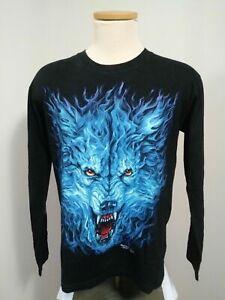 Rock Chang Long Sleeve Dual Graphic T Shirt Men's Medium Glow In The Dark Wolf