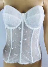 a4492b01e67 Dominique Davis Bridal Embroidered Lace Torsolette Longline Bra Size 34D  White
