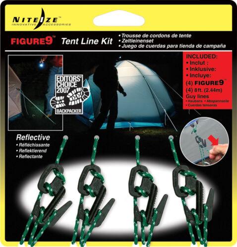 Nite Ize Figure 9 Tente Ligne Kit Corde Tendeur F9T4-03-01 Pack de 4 NOUVEAU!