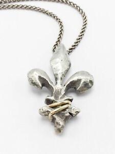 Sterling silver 925 14k yellow gold handmade fleur de lis pendant image is loading sterling silver 925 14k yellow gold handmade fleur aloadofball Images