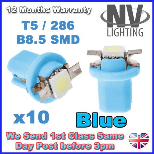 10X T5 B8.5D Car Gauge Speedo Dashboard Dash Side Light Bulb 12V 1 5050 SMD LED