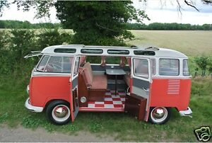 1960 Volkswagen Bus Camper Vw Van Red White