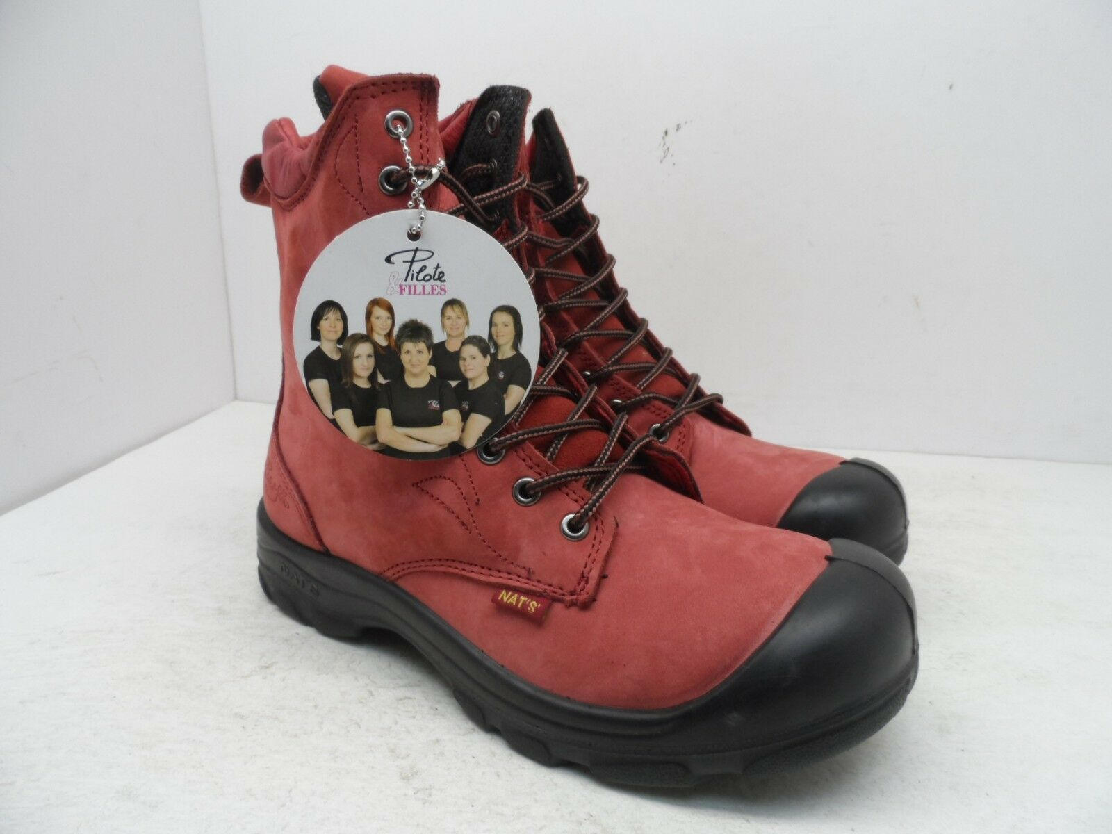 Pilote & Filles Women's S558 Steel Toe Steel Plate Safety Boots Red Size 9M