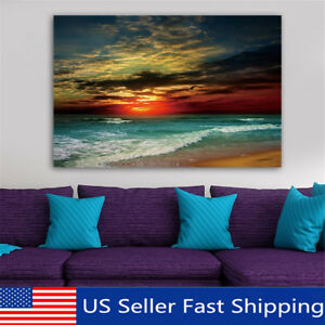 Framed-Sunset-Beach-Sea-Modern-Canvas-Art-Painting-Print-Wall-Picture-Home-Decor
