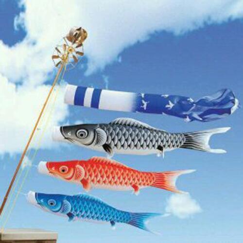 40cm Koinobori Japanese Carp Wind Sock Koi Nobori Anime Fish Flag Kite Red