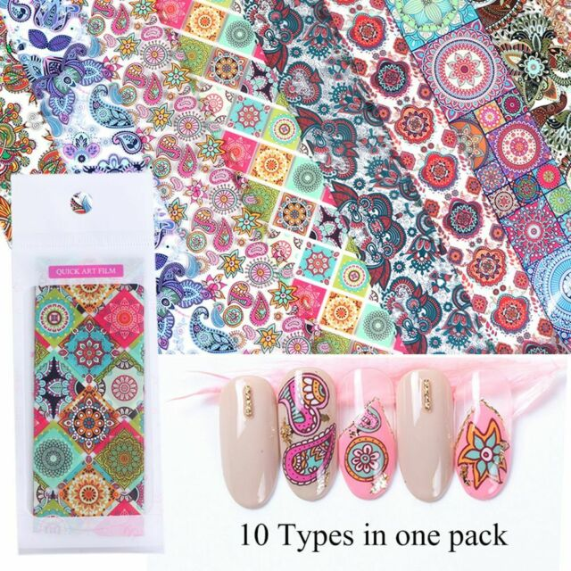 Flower Holographic Nail Foils Set Starry Paper Transfer Sticker Decal