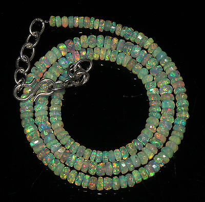 "43 Crts 3 to 4.5 mm 16""Faceted Beads necklace Ethiopian Welo Fire Opal 63847"