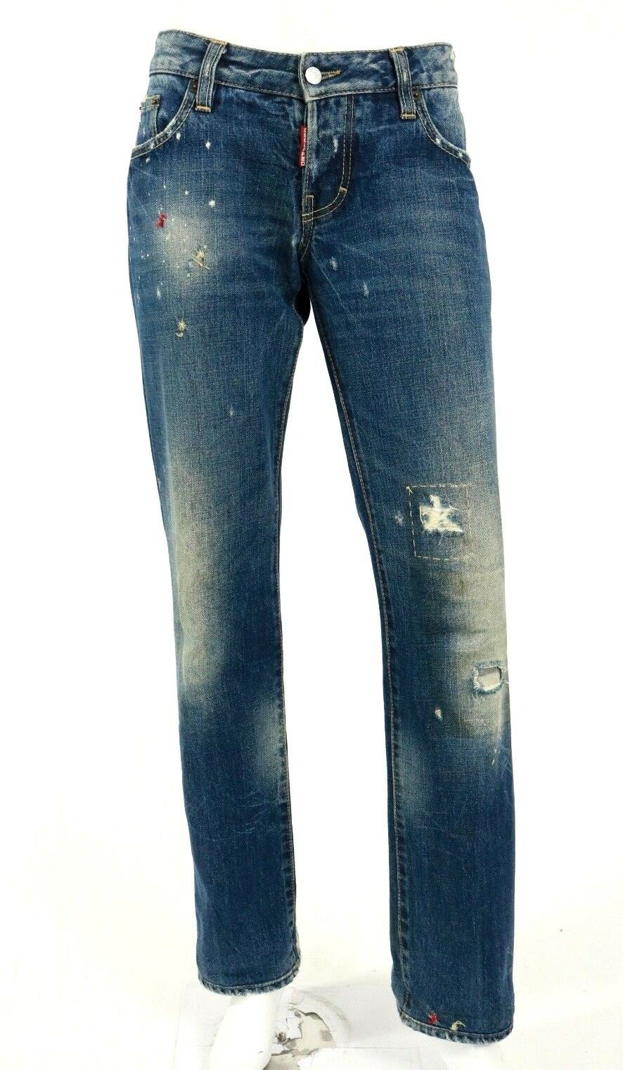 DSQUARED2 bluee Distressed Cotton Denim Boyfriend Cut Jeans 46