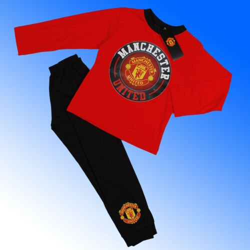 Boys Authentic Official Manchester United FC Badge Pyjamas #MUFC Age 4-12 Years
