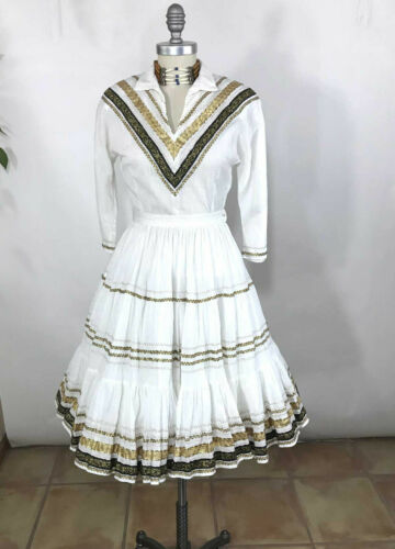 Vtg 50s 2-pc Tregos Westwear Patio Dress White/Gol