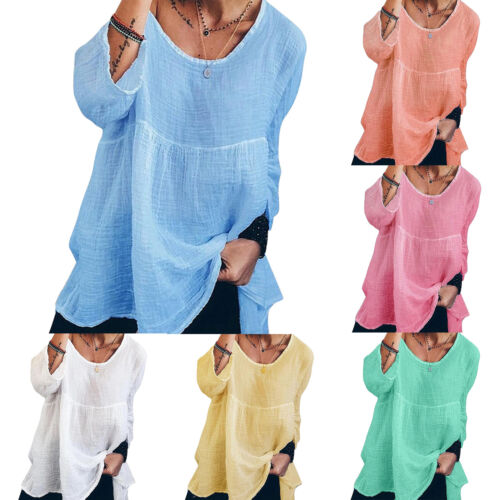 Plus Size Women Ladies Summer Casual Tunic Blouse Tops Kaftan Loose Casual Shirt